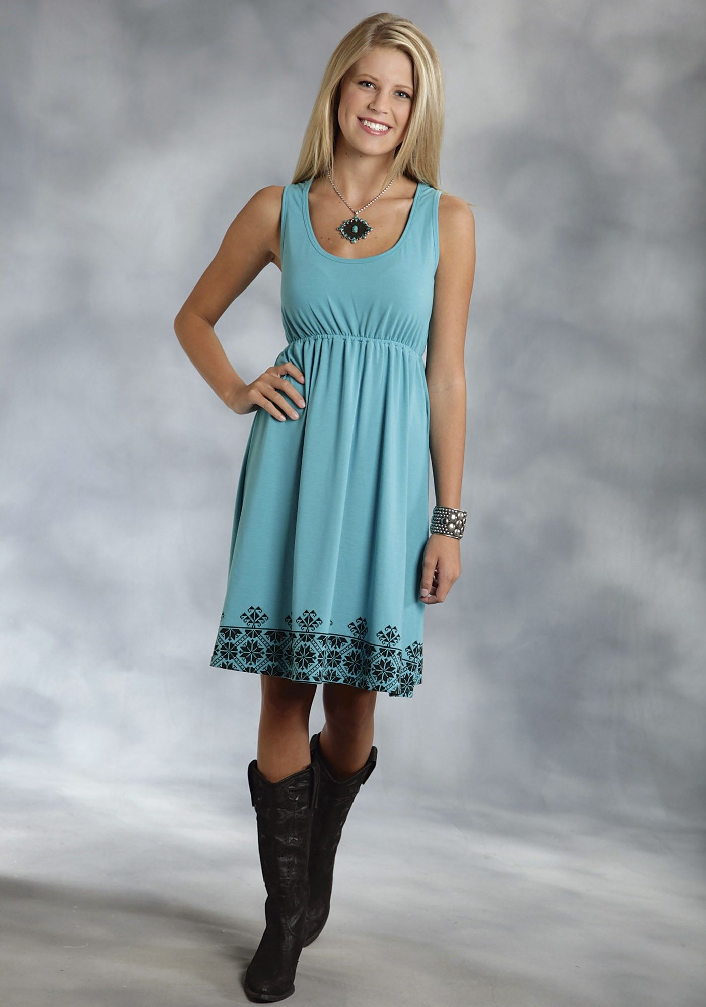 Roper® Women's Turquoise Racer Back Jersey Western Dress | Three ...