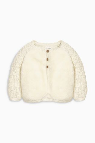 Ecru Knitted Fleece Cardigan (0mths-2yrs) | Next UK