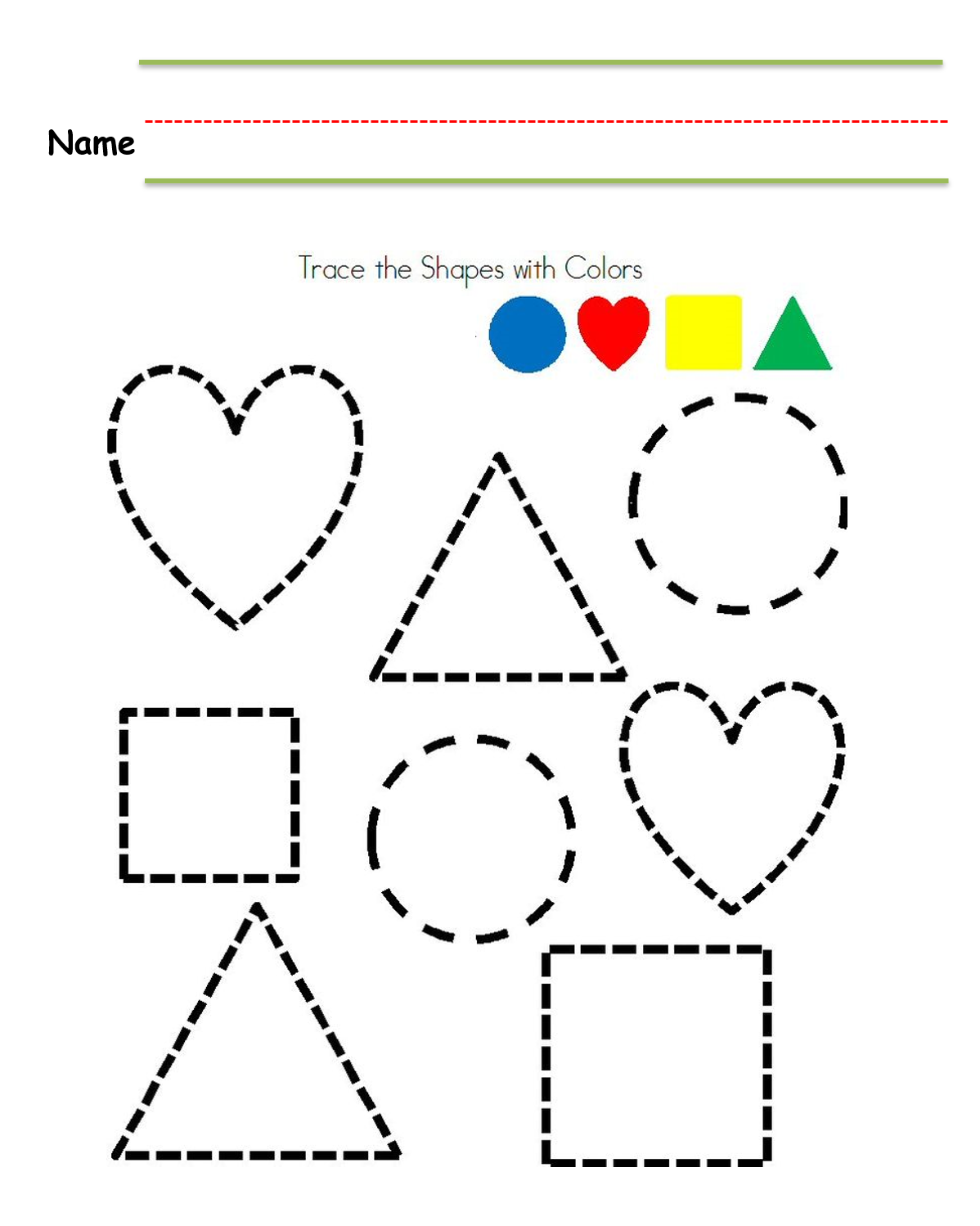 Kindergarten Worksheet Tracing Shapes In