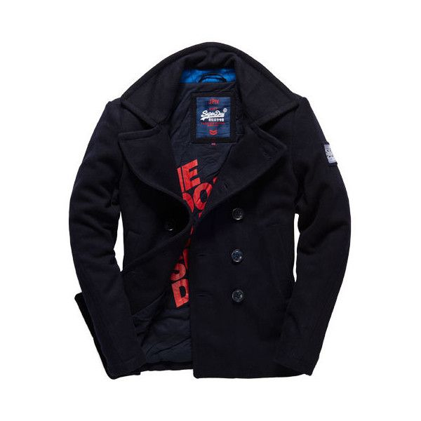 Superdry Rookie Pea Coat ($140) ❤ liked on Polyvore featuring men's fashion,  men's clothing, men's outerwear, men's coats, navy, mens coats, mens navy  blue ...