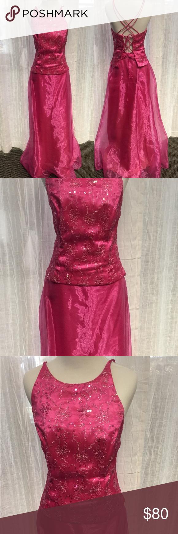 2-Piece Pink Formal Dress | Pink formal dresses, Dress skirt and Formal