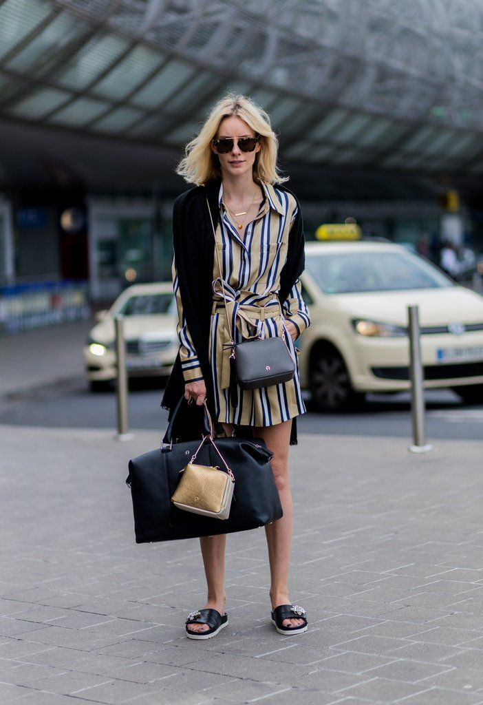 As the easiest travel shoe to accompany a printed shirtdress.