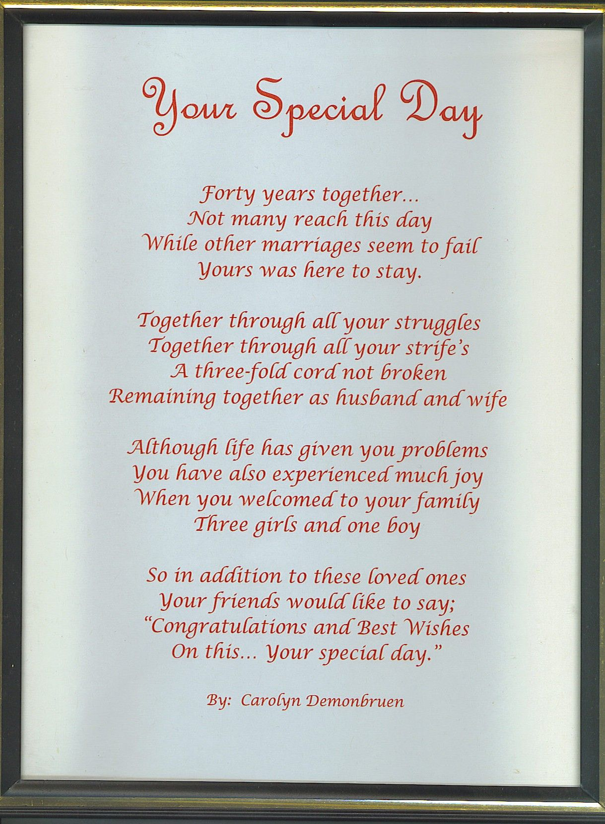 Anniversary Poems For Parents Eta If You Do Use This One And Tweak It Its Worth Noting That The
