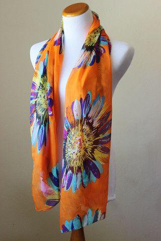 Orange floral chiffon boho scarf, bright abstract sunflower print