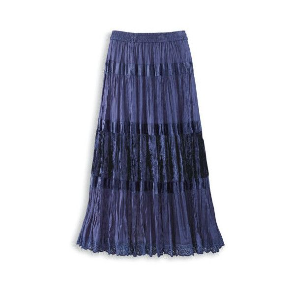 Tiered Satin  Velvet Skirt ($50) ❤ liked on Polyvore featuring skirts, velvet maxi skirt, blue velvet skirt, long blue skirt, velvet skirt and long blue maxi skirt