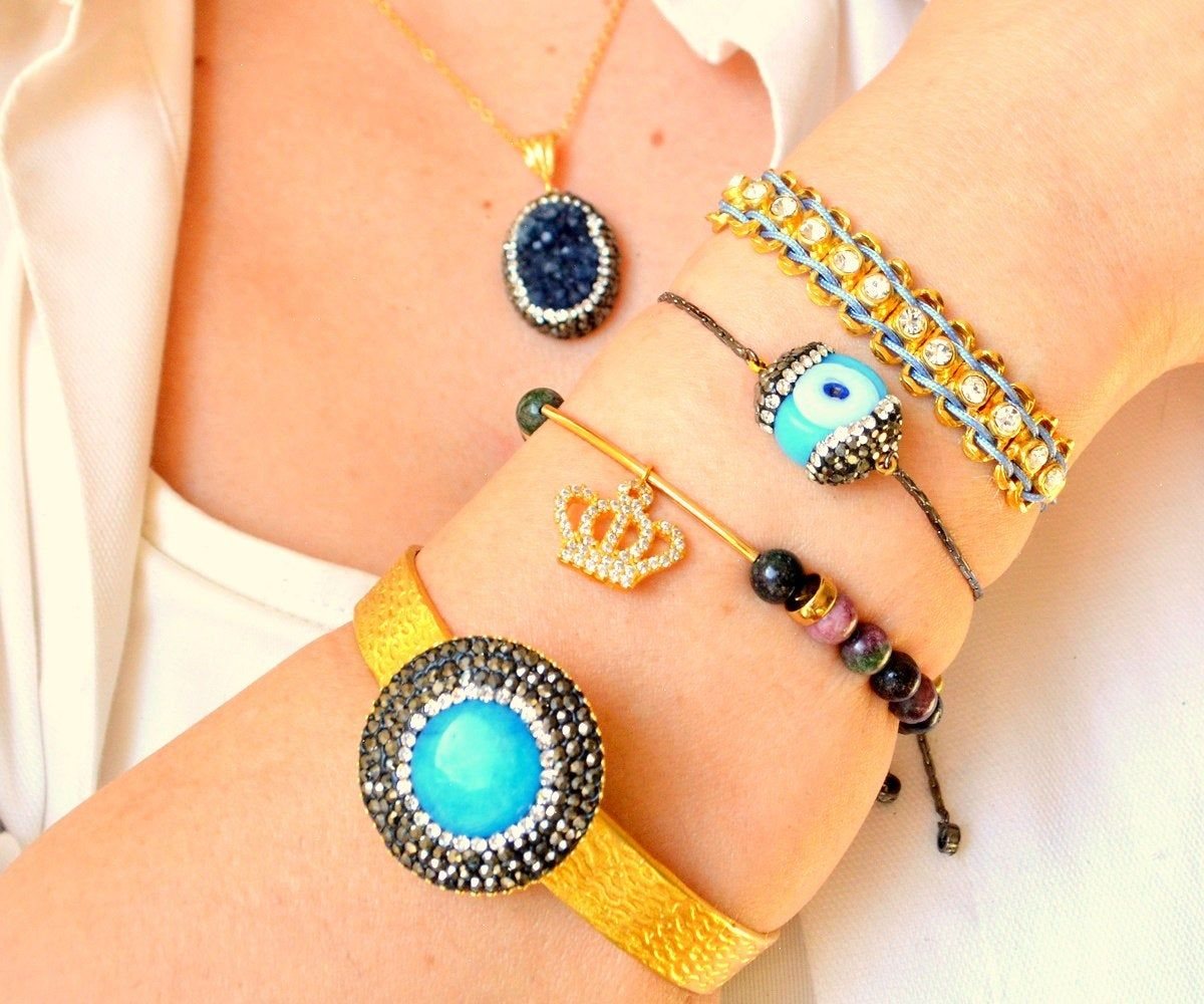 Parliament Drusy Jewelry, Blue Eye Bangle, Crown Bangle, Navy amethyst Druzy Necklace, Blue Clay Cuff, Friendship Bracelet, Nazar Bangle