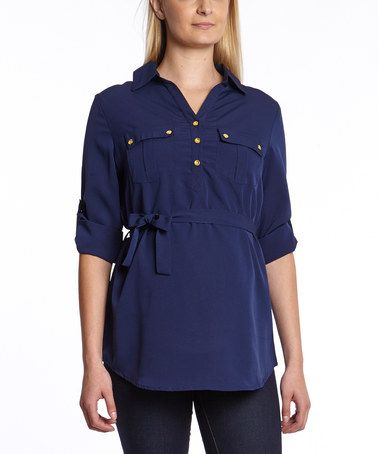 Take a look at this Navy Tie-Front Maternity Tunic - Women on zulily today!
