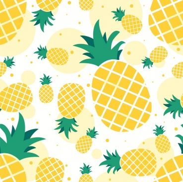 Pineapple Background Yellow Icons Repeating Flat Design Pineapple Drawing Pineapple Backgrounds Pineapple Art