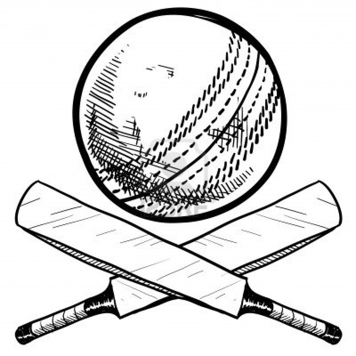 Doodle Style Cricket Sports Equipment Including Ball And Bat Ball Drawing Cricket Bat Cricket Wallpapers