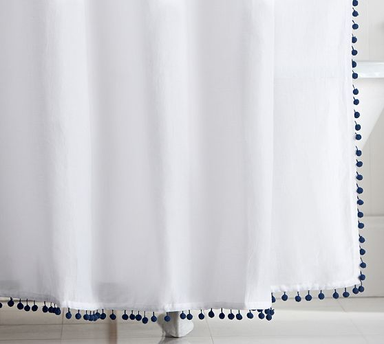 Pom Pom Trimmed Shower Curtain Pottery Barn Darn I Just Bought