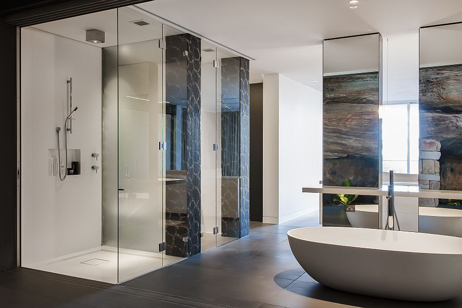 Ensuite Bathroom Fixtures contemporary ensuite bathroom with cutting-edge design in sydney
