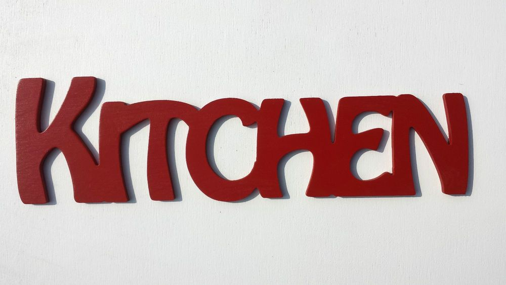 Red Wooden Plaque Word Letters KITCHEN Home Wall Door Decoration