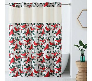 Hookless Holiday Print Shower Curtain With Built In Liner Fabric