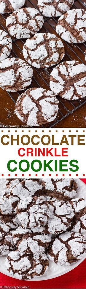Chocolate Crinkle Cookies #chocolatecrinklecookies