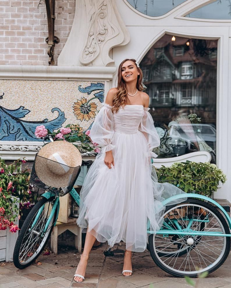 60s style bridal gown, cocktail party dress, beach