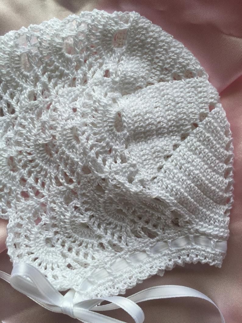 Crochet Lacy Baby Bonnet Christening Baptism Blessing Etsy Crochet Baby Bonnet Crochet Pattern Baby Bonnet