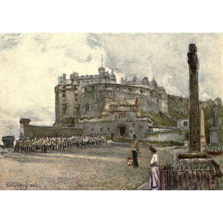 Edinburgh 1904 Edinburgh Castle from the Esplanade Canvas Art - John Fulleylove (18 x 24)