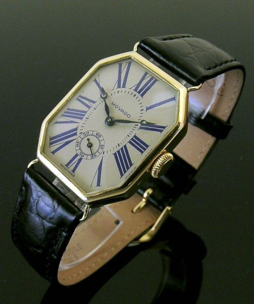 An early vintage 18ct gold octagonal Movado wristwatch, 1924 #vintagewatches