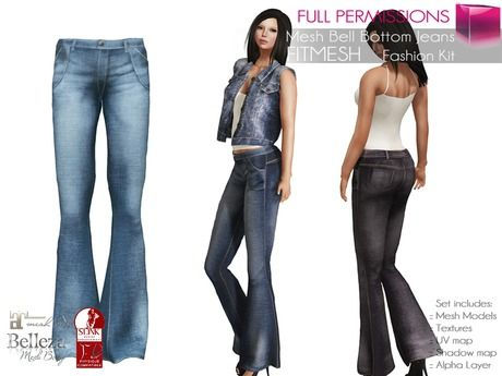 526d41d6b22 Second Life Marketplace - Full Perm MI Bell Bottom Jeans FITMESH - Slink…