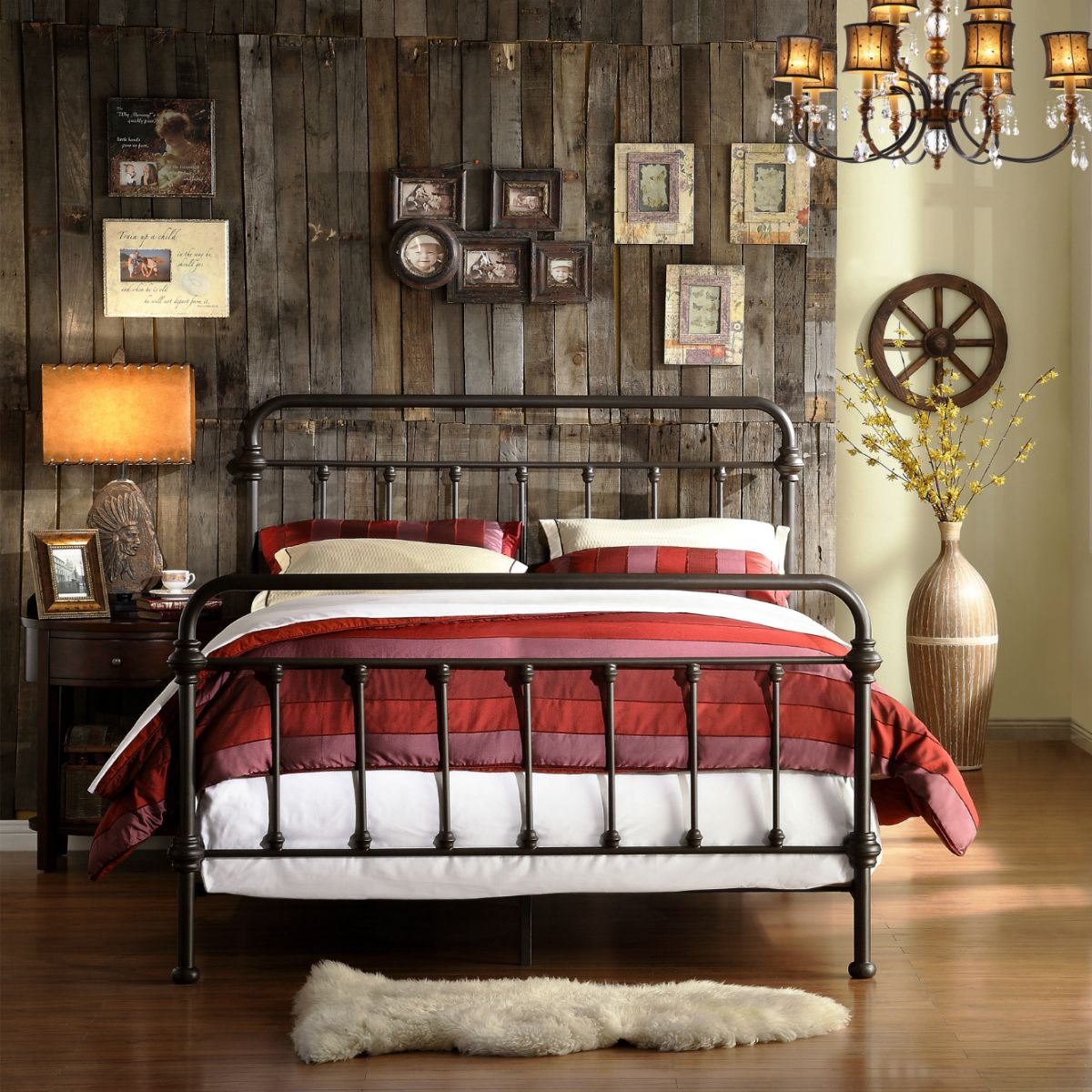 Is It Time To Decorate The Master Bedroom Suite This Gorgeous Bedframe In A Rustic Wrought Iron Finish Says Rustic Bedroom Furniture Iron Bed Frame Home Decor