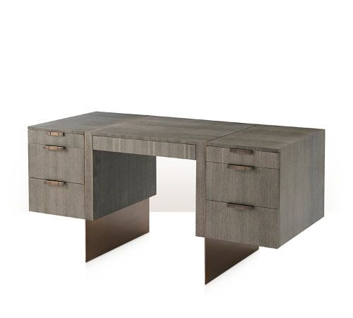 Pedestal Desk, Quartered Oak Veneer with Basalt Finish, Brass Slab Legs and Handles with Lancaster Finish, Central Frieze Drawer and Three Graduated Drawers to The Left, One Drawer & One Filing Drawer to the Right, Self Closing Drawer Runners