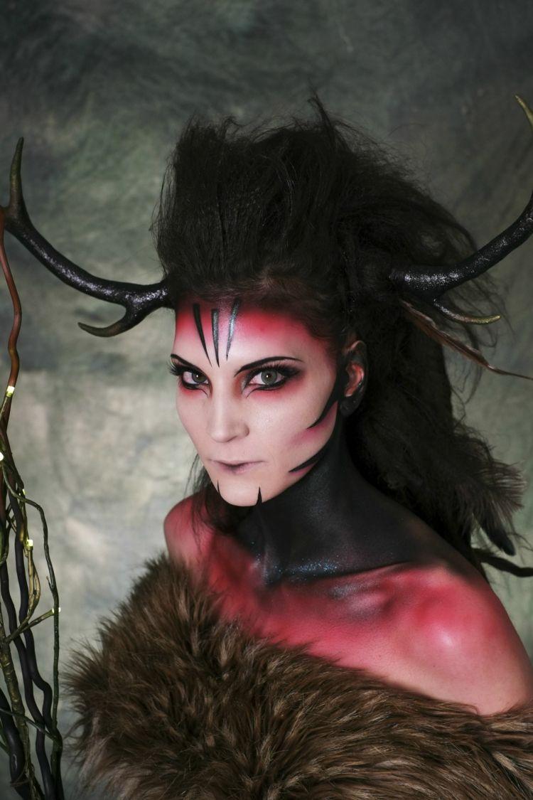 Dame Als Teufel Geschminkt Und Verkleidet Halloween