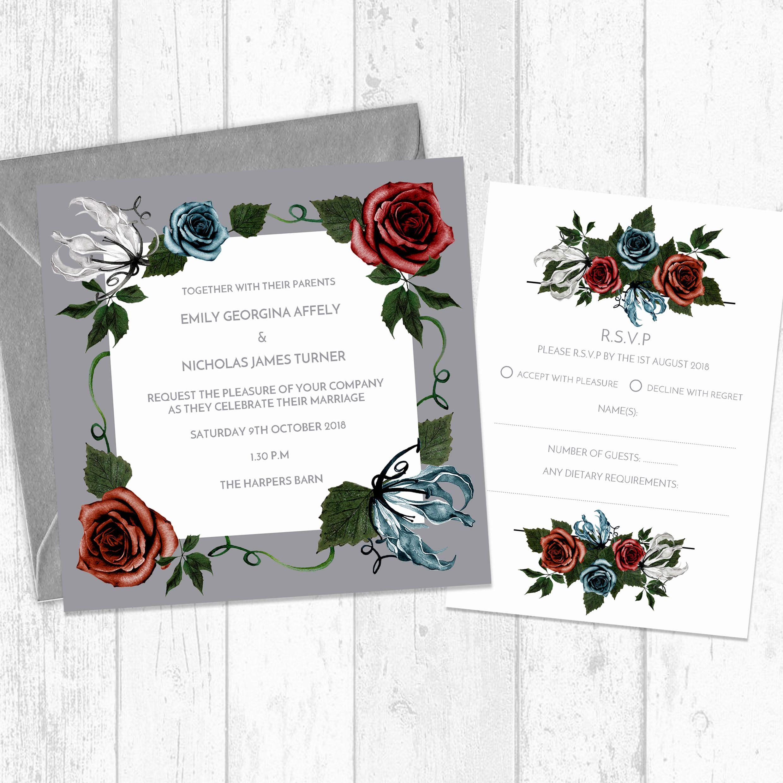 Jewel floral square wedding invitation and rsvp jewel