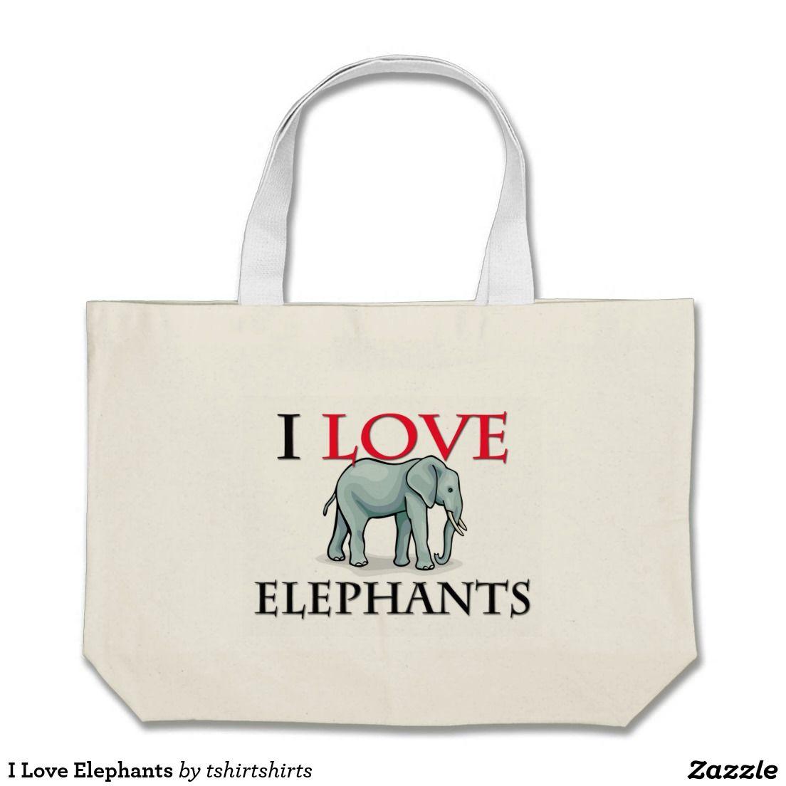 I Love Elephants Jumbo Tote Bag