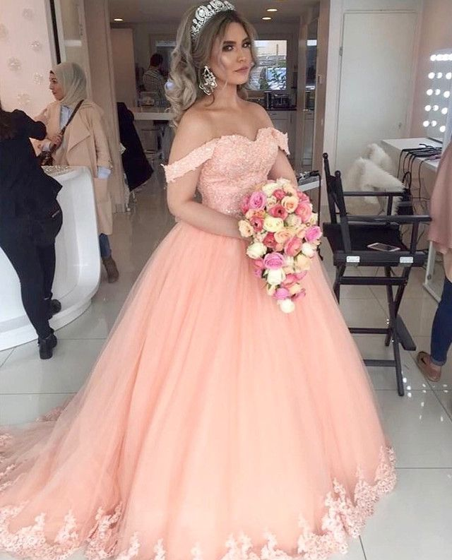 Coral Tulle Quinceanera Dresses Ball Gowns Wedding Dress Lace