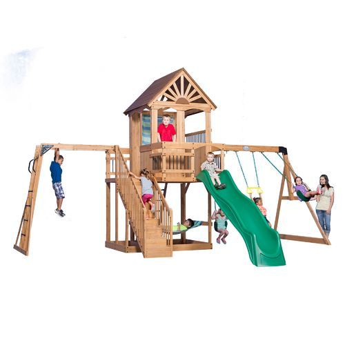 Backyard Discovery Oceanview Wooden Swing Set Brown Brown Outdoor