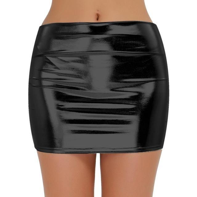 f73a479c4e3a Tiaobug Femme Mini Jupe Moulante Noir Mat Taille Haute Courte Jupe  Imitation Faux Cuir Mini Robe Fille Jupe Mignon Package Hanche S-3XL …