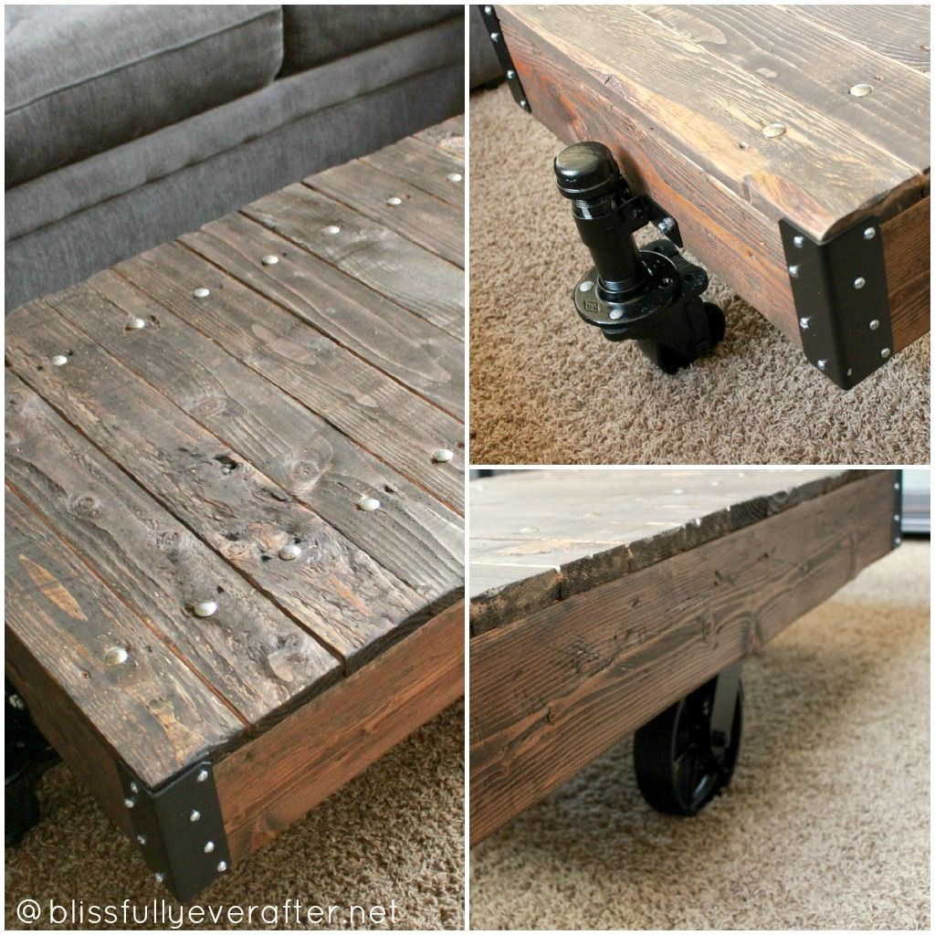 Blissfully ever after diy factory cart coffee table restoration blissfully ever after diy factory cart coffee table restoration hardware knockoff geotapseo Images
