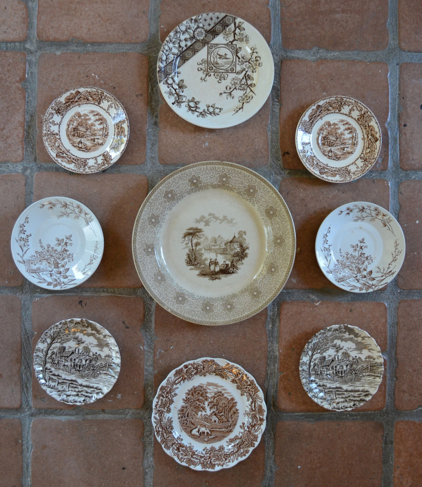 Mix \u0026 Match Set of 9 Vintage Brown Toile Transferware Plates - Instant Wall Display Collection & Mix \u0026 Match Set of 9 Vintage Brown Toile Transferware Plates ...