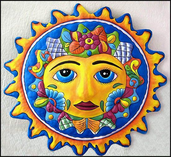 Sun Wall Art - Hand Painted Metal Sun Wall Hanging - Haitian Metal ...