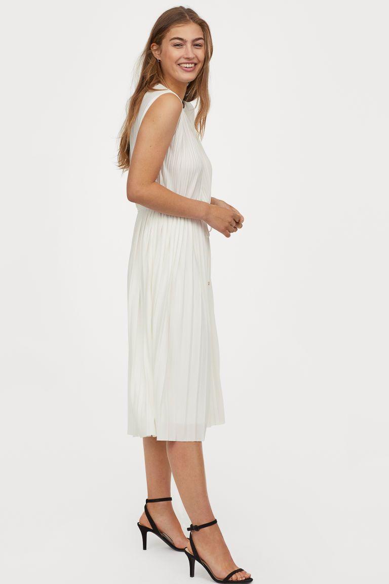 pleated dress - cream - ladies | h&m ca | plissierte kleider