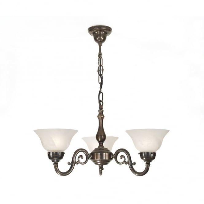 Grande Aged Br 3 Light Victorian Ceiling Pendant Chandelier Lights