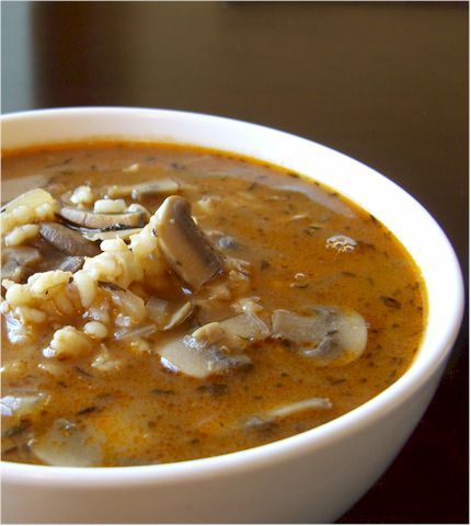 Mushroom Barley Soup. This looks amazing. I love a good barley soup. Warm and comforting food