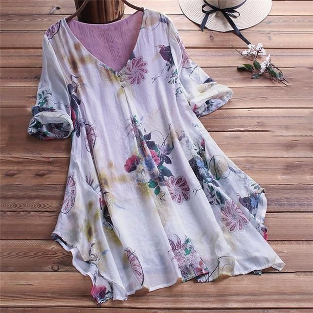 Plus Size Flowy Top Linen Tunic With V-Neck Loose Blouse #linentunic