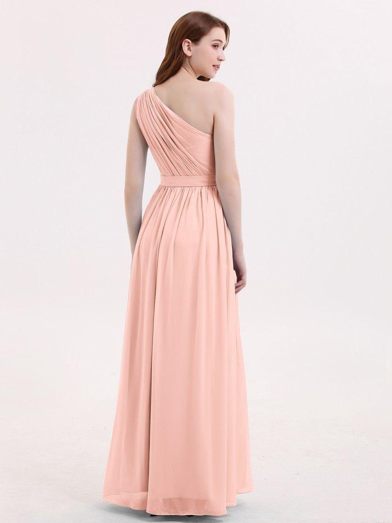 aef7e0766630e Coral Maggie One Shoulder Chiffon Long Bridesmaid Dress | BABARONI