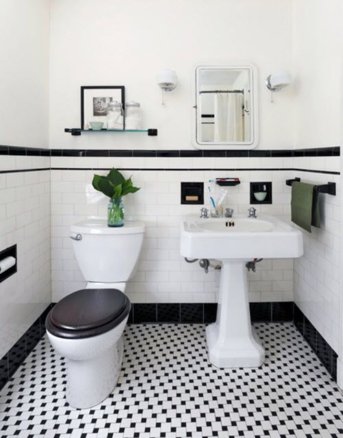 31 retro black white bathroom floor tile ideas and for Black and white bathroom sets