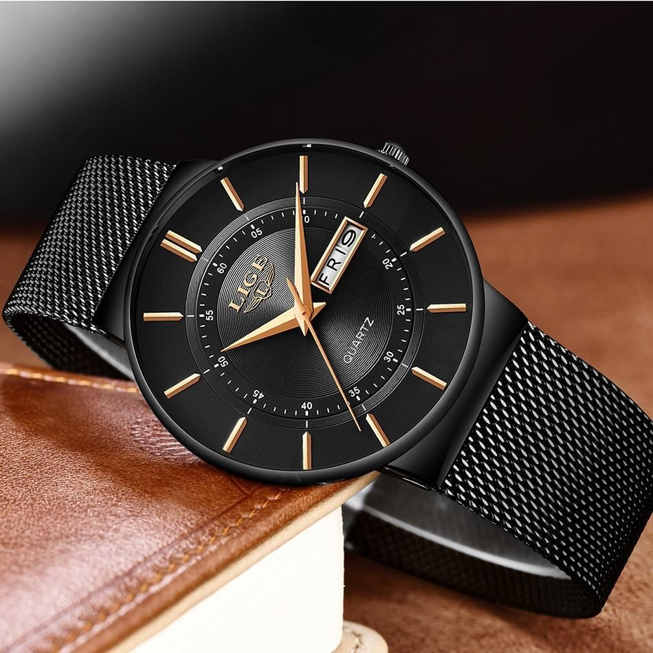 Thin Sports Watch - Black rose gold / Russian Federation