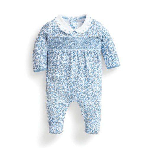 46310db71d91 Pretty Smocked Blue Sleepsuit | Baby Girl | Stylish baby, Baby, Baby ...