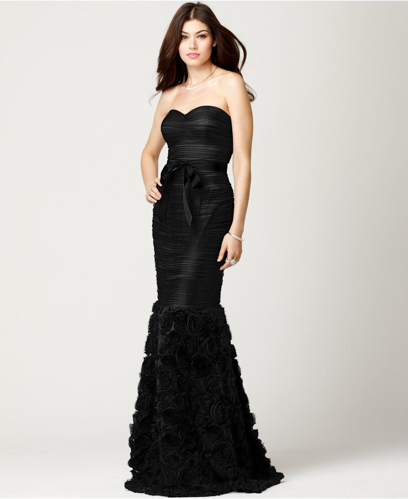 Js collections strapless belted mermaid gown dresses women