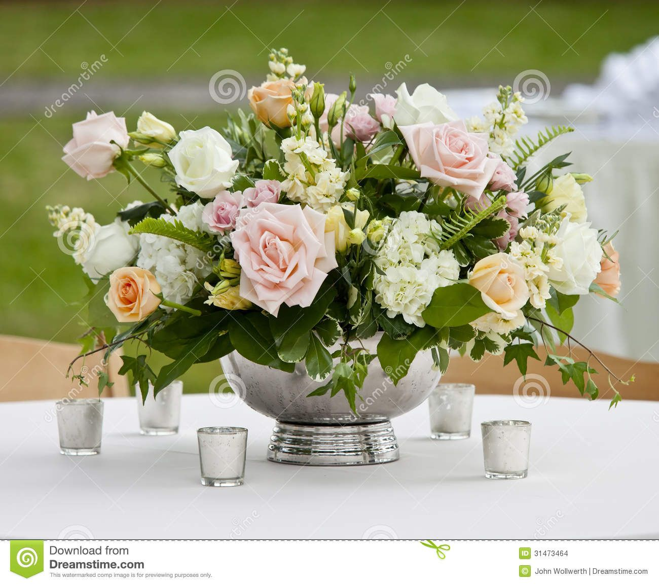 Flower Arrangement In Silver Bowl Stock Images Image