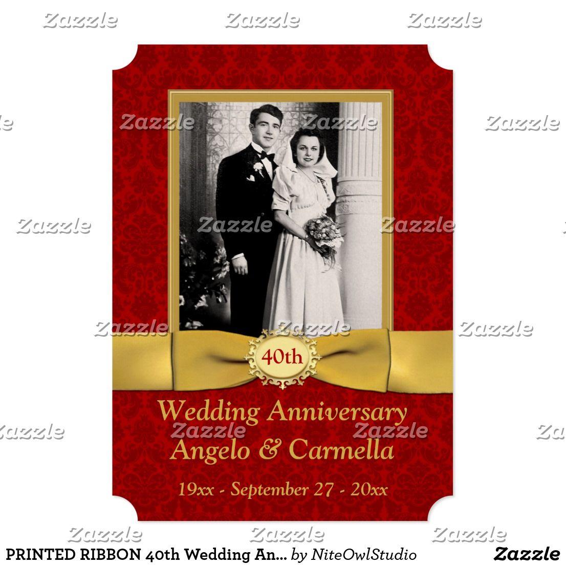 PRINTED RIBBON 40th Wedding Anniversary Invitation   60th ...