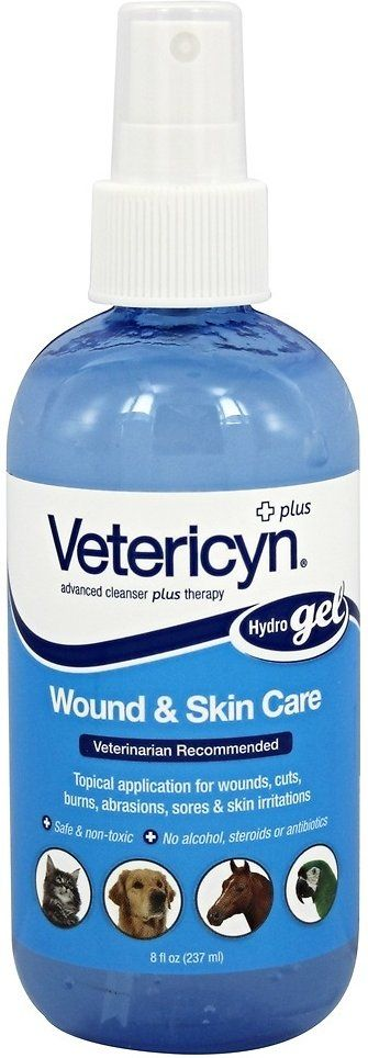 Vetericyn Plus Antimicrobial Hydrogel Spray For Pets Is A Uniquely Formulated Gel Designed To Adhere To The Wound Site To Provide Skin Care Sore Skin Pet Spray