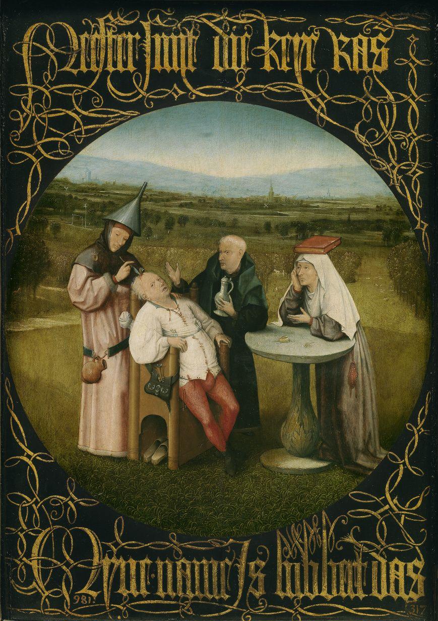 La extracción de la piedra de la locura (Hacia 1500-10). Óleo sobre tabla. 48,5×34,5cm. Cuadro de gabinete. El Bosco (H. 1450-1516). Escuela Flamenca.