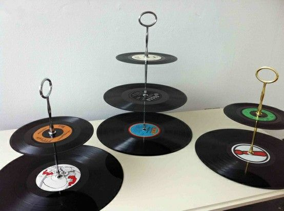 Recycled vinyl records cookie plates. Cute