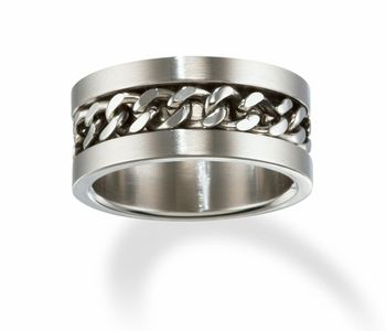 Men's Cuban Link Chain Promise Ring in Stainless Steel