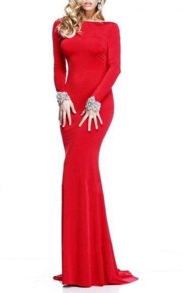 Long Sleeves Backless Satin Square Sheath Formal Dresses Gjea70020